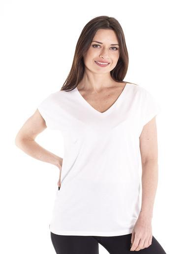 Stamina Derin V Yaka Kısa Kol Bluz Beyaz